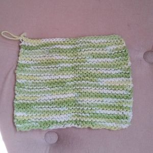 Other - Handknit Lime Green Cotton Washcloth